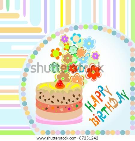 stock vector : vector Happy birthday floral designs gre