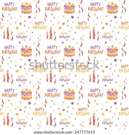 Vector Happy Birthday pattern, white background