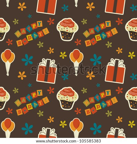 Vector happy birthday vintage  background , seamless pattern