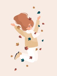 Vector happy blonde woman jumping and smiling with leaves. Autumn illustration