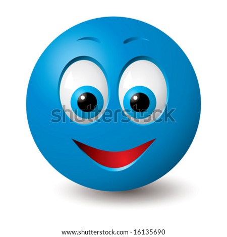 vector  happy blue smiley face