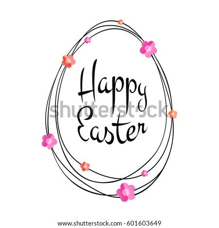 Vector Happy Easter black typographic calligraphic lettering with gold scribble egg frame and colorful paper flowers isolated on white background. Retro holiday easter badge. Religious holiday sign.