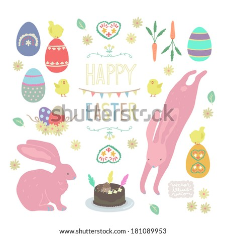 Vector Happy Easter Party Illustration set