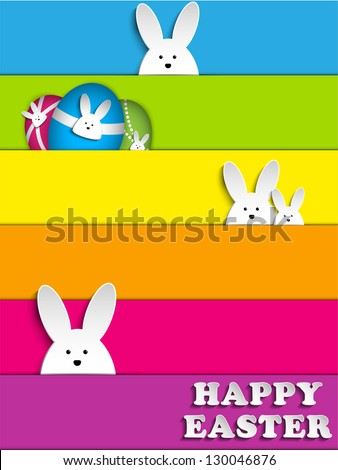 Vector Happy Easter Rabbit Bunny on Rainbow Background