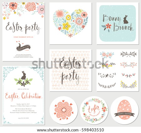 Vector Happy Easter templates with eggs, flowers, floral heart and wreath, ornate frame, rabbit and typographic design. Good for spring and Easter greeting cards and invitations.