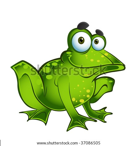 Vector Happy Green Frog - 37086505 : Shutterstock