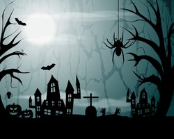 Vector Happy Halloween banner, trick or treat haunted house with scary trees, spiders, pumpkins, flying bats, grave and zombie hands in front of full moon, spooky party poster invitation