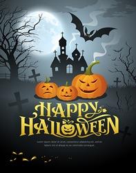 Vector Happy Halloween pumpkin design on moon background, illustrations