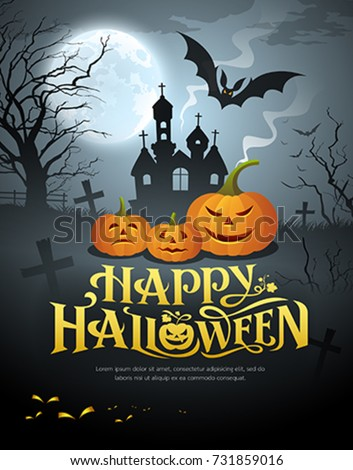 Vector Happy Halloween pumpkin design on moon background, illustrations