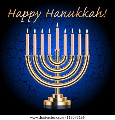 """Vector """"Happy Hanukkah!"""" blue wish card with Hanukkah Menorah"""