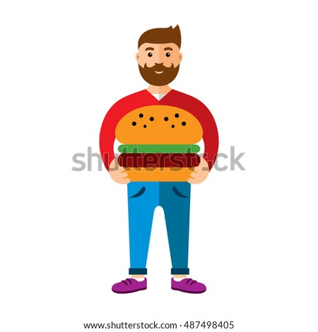 Vector Happy hipster man with hamburger. Flat style colorful Cartoon illustration.