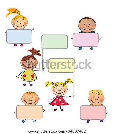 vector happy kids.