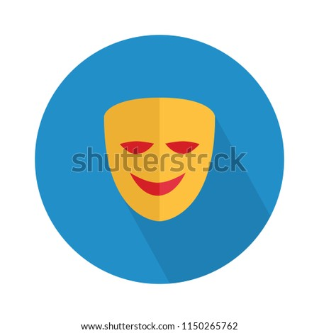vector happy mask flat icon, comedy theater sign symbol