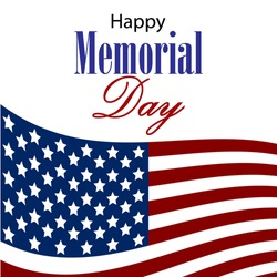 Vector Happy Memorial Day card. National american holiday illustration with USA. Festive poster or banner with hand lettering.
