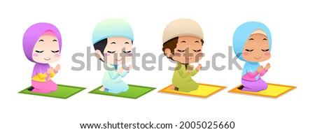 vector happy muslim children praying. very suitable for use as part of website design, posters, presentations, and others. Imagine de stoc ©