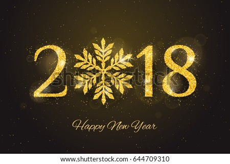vector 2018 happy new year and merry christmas greeting card with sparkling glitter golden textured snowflake