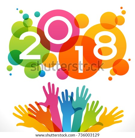 mailbox and colored envelopes surrounded by vector 2018 happy new year background color design with numeral 2018 peoples hands and