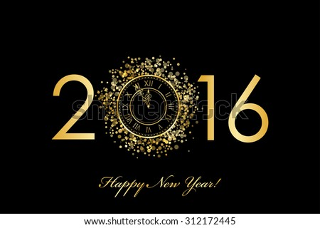 Vector 2016 Happy New Year background with gold clock