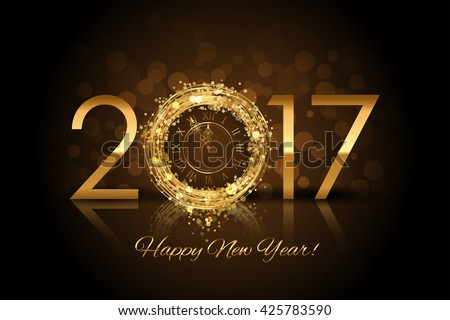 Shutterstock Vector 2017 Happy New Year background with gold clock