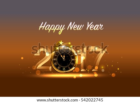 Vector 2017 Happy New Year background with gold clock #542022745