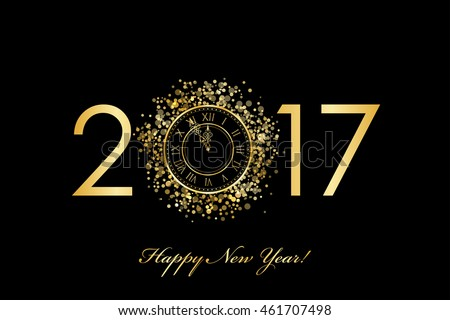 Vector 2017 Happy New Year background with gold clock. 2017 background. New Year 2017. Happy New Year.  Happy New Year 2017. Happy New Year background. 2017 gold.