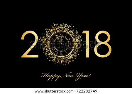 Vector 2018 Happy New Year background with gold clock on black