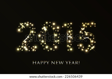 Vector 2015 Happy New Year background with gold sparkles #226506439