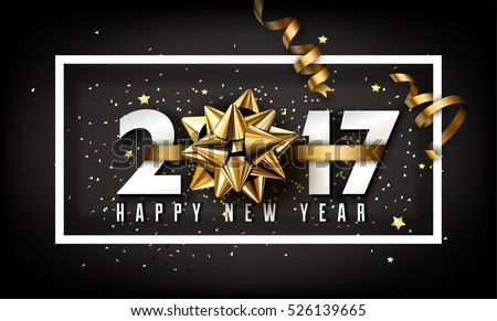 Shutterstock Vector 2017 Happy New Year background with golden gift bow