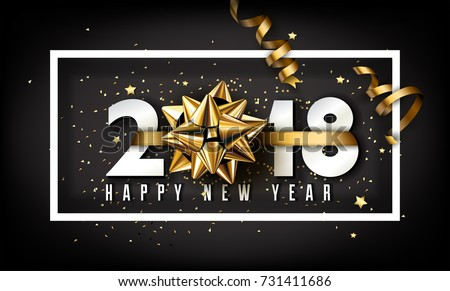 Vector 2018 Happy New Year background with golden gift bow #731411686