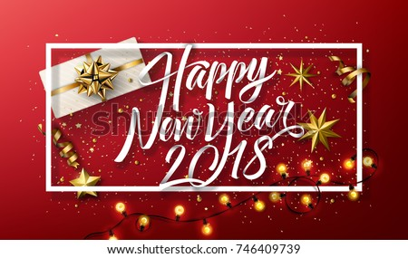 Vector 2018 Happy New Year background with golden gift bow #746409739
