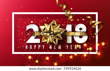 Vector 2018 Happy New Year background with golden gift bow and christmas elements #749924626