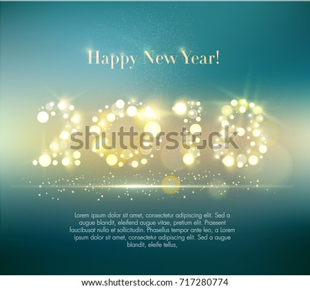 Vector 2018 Happy New Year background with sample text. EPS10.