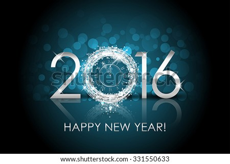 Vector 2016 Happy New Year background with silver clock