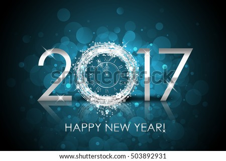 Vector 2017 Happy New Year background with silver clock. 2017