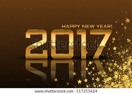Vector 2017 Happy New year background with stars  on brown background. 2017 #517255624