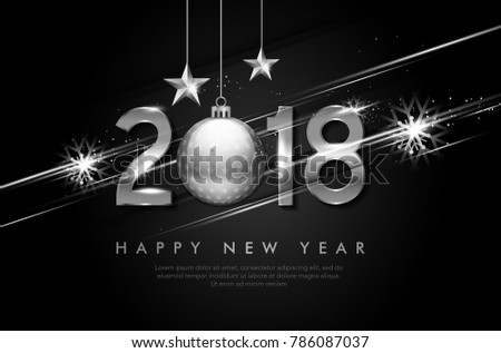 Vector 2018 Happy New Year background with white snowflake and shiny stripes elements #786087037