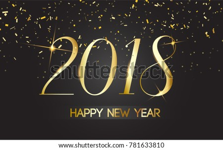 Vector 2018. happy New Year Black background with gold. premium design template  #781633810
