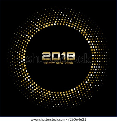 vector happy new year 2018 card background gold bright disco lights halftone circle frame