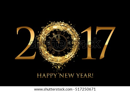 Vector 2017 Happy New Year card with gold shiny clock on black background