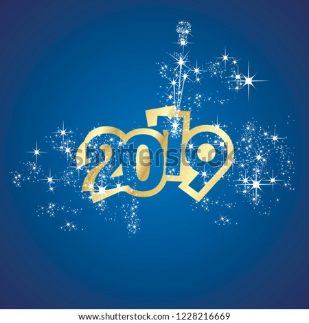 Vector 2019 Happy New Year champagne firework gold blue background #1228216669