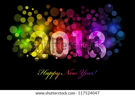Vector Happy New Year 2013 colorful background