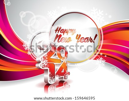 Vector Happy New Year 2014 colorful celebration background EPS 10 illustration