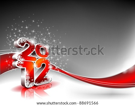 Vector Happy New Year design with shiny 2012 text on a wave background.