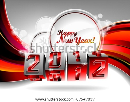 Vector Happy New Year 2012 design with swirl cubes on a red background.