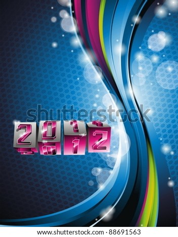 Vector Happy New Year 2012 design with swirl cubes on blue background.