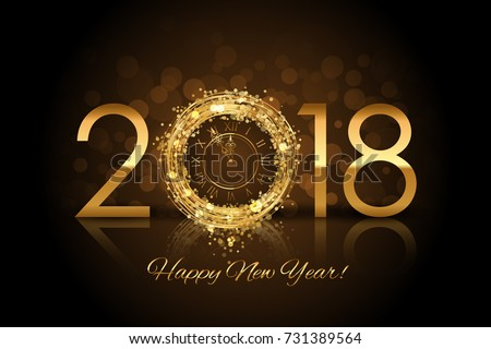 Vector Happy New Year 2018 - New Year background with gold clock #731389564