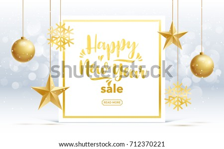 vector happy new year 2018 sale gold and black collors place for text christmas balls  2019 2020
