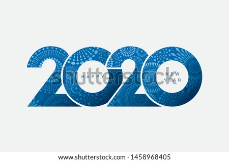 Vector Happy New Year 2020 with fireworks and text design isolated on white background.