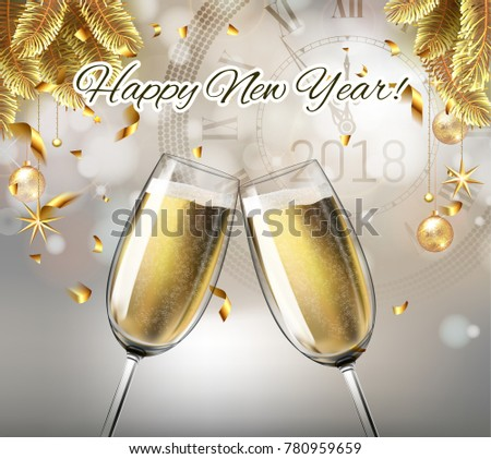 vector happy new year with toasting glasses of champagne on sparkling winter holiday background in realistic