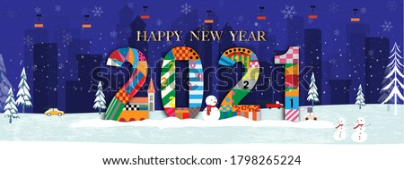 Vector Happy New Year 2021 with winter landscape in city at night with snow falling on Chritsmas eve. Cute Winter wonderland in the town for New year or Christmas greeting card or flyer